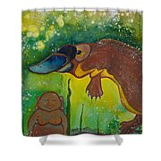 Buddha And The Divine Platypus No. 1375 Shower Curtain