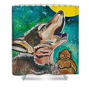 Buddha And The Divine Wolf No. 1370 Shower Curtain