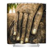 Buddha Hand Shower Curtain by Adrian Evans