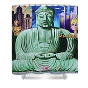 Buddha In The Metropolis Shower Curtain