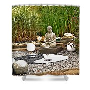 Buddha Looks At Yin And Yang Shower Curtain