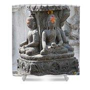 Buddha Statue At Temple - Swayambunat  Shower Curtain