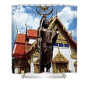 Buddha Statue With Sunshade Outside Temple Hat Yai Thailand Shower Curtain