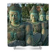 Buddhas All In A Row Shower Curtain