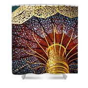 Buddhas Path To Enlightenment, Golden Umbrella Shower Curtain