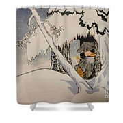 Buddhist Cleric Nichiren In Exile And Homage To Yoshitoshi Shower Curtain