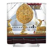 Buddhist Dharma Wheel Shower Curtain