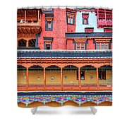 Buddhist Monastery Building Shower Curtain