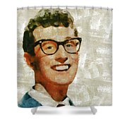 Buddy Holly By Mary Bassett Shower Curtain