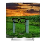 Buddy Holly Glasses Shower Curtain