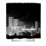 Budweiser  Brewery Lightning Thunderstorm Image 3918  Bw Pano Shower Curtain