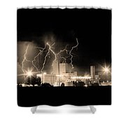 Budweiser Lightning Thunderstorm Moving Out Bw Sepia Crop Shower Curtain