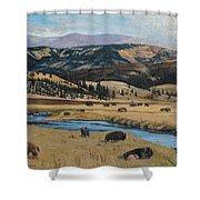 Buffalo By A Stream Shower Curtain