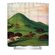 Buffalo Hunt, 1830s Shower Curtain