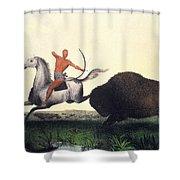 Buffalo Hunt, 1832 Shower Curtain