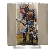 Buffalo Soldier Outfitted Shower Curtain by Harvie Brown