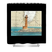 Buffington Harbor Lighthouse In Nautical Chart Map Shower Curtain