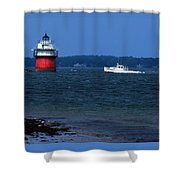 Bug Light And Lobster Boat Shower Curtain
