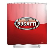 Bugatti - 3 D Badge On Red Shower Curtain