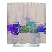 Bugatti Type 35 R Watercolor 2 Shower Curtain by Naxart Studio