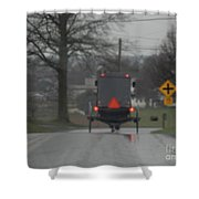 Buggy Approaching A Curve In The Road Shower Curtain