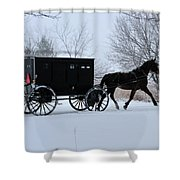 Buggy On Winter Road Shower Curtain