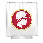 Builder Hardhat Side Circle Retro Shower Curtain