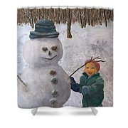 Building A Snowman  Shower Curtain