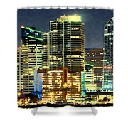 Building At Night With Lights Shower Curtain