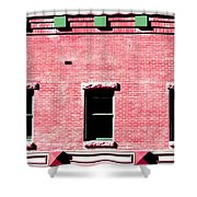 Building In Red And Green Shower Curtain