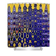 Building Of Circles And Waves Colored Yellow And Blue Shower Curtain
