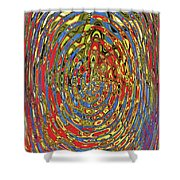Building Of Circles And Waves Colored Yellow Red And Blue Shower Curtain
