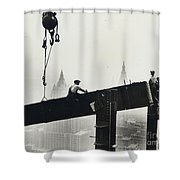 Building The Empire State Building Shower Curtain by LW Hine