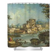 Buildings And Figures Near A River With Rapids Shower Curtain