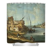 Buildings And Figures Near A River With Shipping Shower Curtain