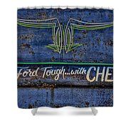 Built Ford Tough With Chevy Stuff Shower Curtain