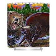 Bull And Bear Shower Curtain