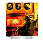Bull At Night Shower Curtain