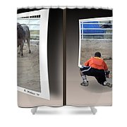 Bull Challenge - Gently Cross Your Eyes And Focus On The Middle Image Shower Curtain