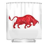 Bull Charging Drawing Shower Curtain