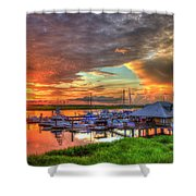 Bull River Marina Sunrise 2 Sunrise Art Shower Curtain
