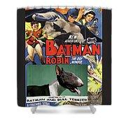 Bull Terrier Art Canvas Print - Batman Movie Poster Shower Curtain