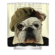 Bulldog Portrait, Animals In Clothes Shower Curtain