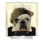 Bulldog Portrait, Animals In Clothes Shower Curtain