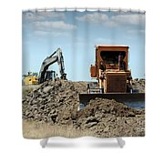 Bulldozer And Excavator On Road Construction Shower Curtain