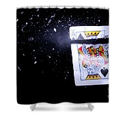 Bullet Hitting A Playing Card Shower Curtain