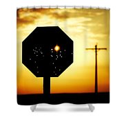 Bullet-riddled Stop Sign Shower Curtain