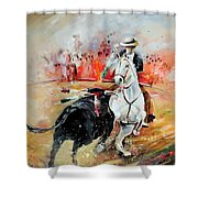 Bullfight 3 Shower Curtain