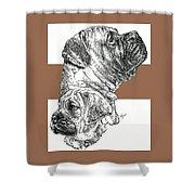 Bullmastiff And Pup Shower Curtain