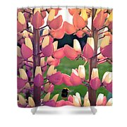 Bumble Bee And Flowers Shower Curtain